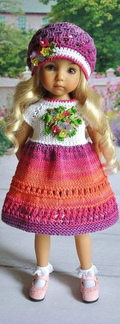 Knitted Dress & Cap for Little Darling