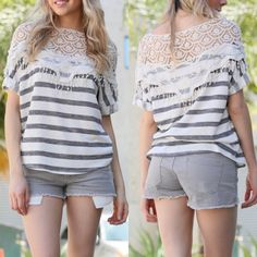 🆕The VIVENNE striped crochet top - NAVY STRIPE WITH LACE DETAIL CASUAL TOP Fabric:SOLID KNIT-96% POLYESTER 4% SPANDEX Made In:USA. ️AVAILABLE in 2 colors: Coral & navy‼️️NO TRADE‼️ Bellanblue Tops