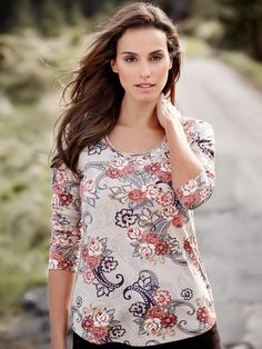 Paisley print scoop neck jersey top