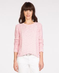 If we do a fancy yarn- this is a good detail. Round neck jumper TOULOULOU - Colour HOT PINK/OFF WHITE