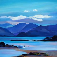 Landscape Paintings and photographs : Still in the Sound / PamCarter gouache painting Landscape Paintings and photographs : Still in the Sound / PamCarter Watercolor Landscape, Landscape Art, Landscape Paintings, Watercolor Paintings, Watercolour, Seascape Paintings, Gouache Painting, Pictures To Paint, Acrylic Art