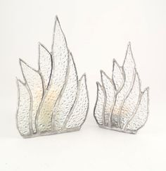 Clear Stained Glass Candle Holders  Matching Set by Nostalgianmore, $75.00 Fire and ice!