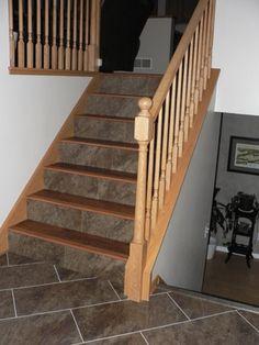 tile stair face, laminate tread