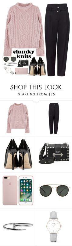 """""""Untitled #220"""" by ritasperna ❤ liked on Polyvore featuring Jimmy Choo, Prada, Ray-Ban, Cartier, CLUSE and chunkyknits"""