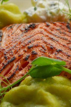 Sous Vide Norvegian Salmon, slowly cooked with thyme, rosemary, pepper and garlic. Served with Pea Mousse and Tzatziki Tzatziki, Sous Vide, Fine Dining, Restaurant Bar, Mousse, Salmon, Garlic, Stuffed Peppers, Cooking