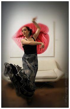 Mermaid cut ruffled flamenco dance skirt, black and white with pattern by ScheherazadeBanoo on Etsy, $155.00
