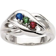 Mothers Ring Cross Swirl Design 1-5 Stones in Sterling Silver ...