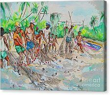 Caribbean Canvas Print featuring the painting Catch Of The Day by Melanie Alcantara Correia