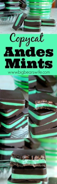 Copycat Andes Mints - If you're a fan of Andes Mints ®, this copycat version is going to be your new favorite recipe. Quick, easy and quite possibly better than the store-bought version! (Baking Cookies And Shit) Fudge Recipes, Chocolate Recipes, Baking Recipes, Copycat Recipes, Easy Candy Recipes, Healthy Recipes, Weight Watcher Desserts, Dessert Simple, Holiday Baking