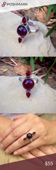 Sterling silver filled garnet bohemian ring Garnet in a sterling silver filled bohemian gypsy style ring. Jewelry Rings