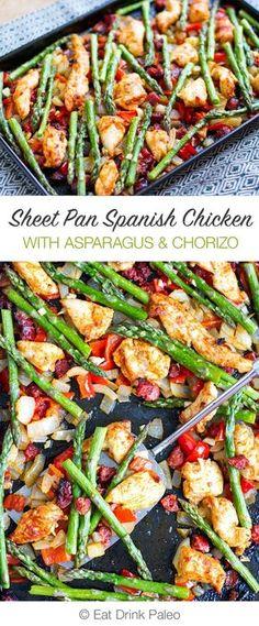 Sheet Pan Roasted Asparagus and Chicken With Chorizo   http://eatdrinkpaleo.com.au/sheet-pan-roasted-asparagus-chicken-with-chorizo/