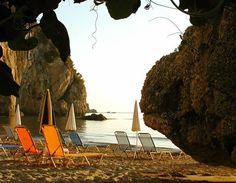 Saint Gordis Beach at North Corfu. Corfu Island, Outdoor Chairs, Outdoor Decor, Greek Islands, Homeland, Dream Vacations, Light Colors, Greece, The Incredibles