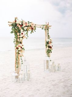 Birch wedding ceremony arch with flowers Looking for ideas on how to decorate your beach wedding arch? Look no further! We've put together fresh ideas–and lots of photos–to inspire your beach wedding ceremony arch. Wedding Ceremony Arch, Beach Wedding Reception, Beach Wedding Flowers, Beach Ceremony, Beach Wedding Decorations, Beach Wedding Favors, Wedding Venues, Beach Wedding Ceremonies, Beach Wedding Arches