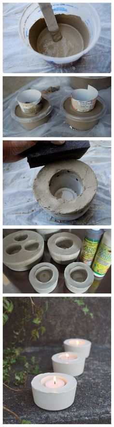 This is so on my to do list of projects...How To Make Cement Candle Holders