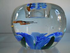 Crystal Art Glass Paperweight  Blue Flower by ilikemodernVintage, $38.00