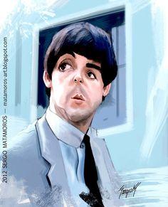 Caricatura del músico Paul McCartney, en su etapa en los Beatles, realizada por el artista Sergio M...