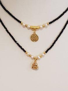Dainty Necklace : Black Short Necklace Beaded Necklace Tree-Of-Life Pendant Black Choker Necklace, Dainty Diamond Necklace, Crystal Bead Necklace, Short Necklace, Fashion Necklace, Beaded Jewelry, Diamond Earrings, Gothic Jewelry, Bracelets