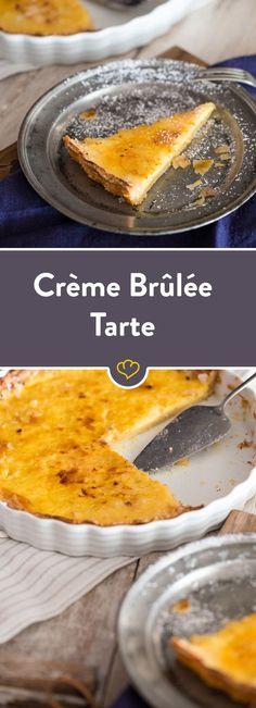 Tausch das Schälchen gegen eine Springform und backe eine ordentliche Familienration Crème brûlée in knuspriger Mürbeteig-Hülle.