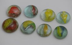 8 Vintage Glass Marbles Glass Kiln Fired flat on one side perfect for DIY projects www.Marblry.Etsy.com $42.00