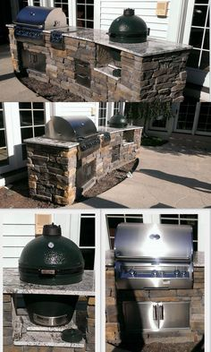 Custom outdoor kitchen with gas grill and Big Green Egg built-in.  I want to substitute a pizza oven instead