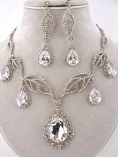 Silver Swarovski Crystal & CZ Bridal Necklace Set