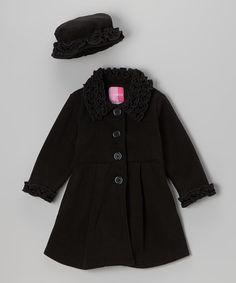 Black Ruffle Coat & Hat - Toddler by Good Lad #zulily #zulilyfinds