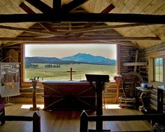 The inside of Esterbrook Church with Laramie Peak in the distance. What better way to to see God's beauty
