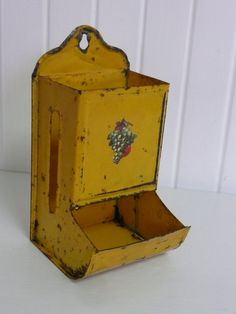 Vintage Tin Metal Match Box Holder, Shabby Chic Lovely Bright Yellow with Vintage Decal - Vintage Travel Trailer and Home Decor