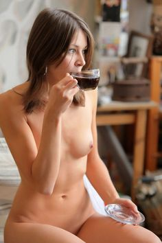 With Naked women drinking coffee having sex touching
