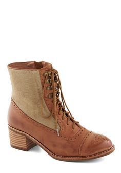 Route of the Matter Boot in Khaki by Jeffrey Campbell - Tan, Steampunk, Best, Lace Up, Chunky heel, Mid, Leather, Woven, Fall, Variation
