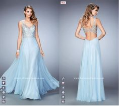 La Femme Prom style - 22499 blue prom dress - homecoming dress - bridesmaids dress - formal dress - pageant dress - V neckline - open back - stud embellished - rhinestone embellished - patterned bodice