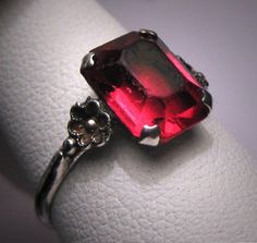 Antique Art Deco Ruby Wedding Ring Vintage Engagement