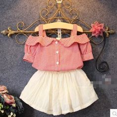 2016 Summer New Girls Lovely Princess Skirts Suit Kids Plaid Off Shoulder T-Shirt White Skirt Twinset Children Clothing Set Fashion Kids, Baby Girl Fashion, Little Girl Dresses, Girls Dresses, Baby Dresses, My Baby Girl, Baby Girls, Kind Mode, Baby Wearing