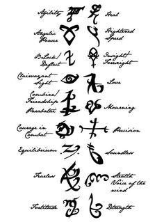 Mortal Instruments: runes symbols