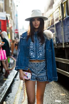 Doina Ciobanu in a denim look by Sea at the Brewer Street shows during London Fashion Week. (Photo: Marcy Swingle for The New York Times)