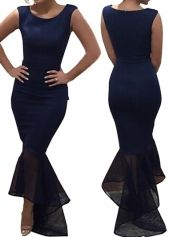 Sleeveless Mesh Splicing Navy Blue Maxi Dress