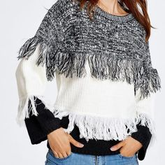 Casual Color Block Fringed Sweater  $47.00    Specification  Color: KHAKI, WHITE, WINE RED  Size: ONE SIZE  Category: Women > Sweaters & Cardigans     Type: Pullovers  Material: Acrylic  Sleeve Length: Full  Collar: Round Neck  Style: Casual  Pattern Type: Others  Season: Fall,Spring,Winter  Weight: 0.570kg  Package Contents: 1 x Sweater