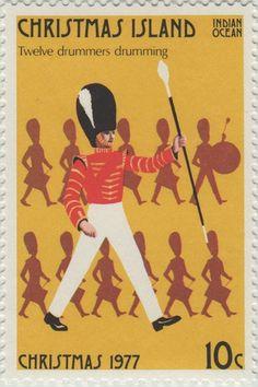 ◙ Christmas Island, Postage Stamp, The Twelve Days of Christmas, Drummers Drumming. ◙