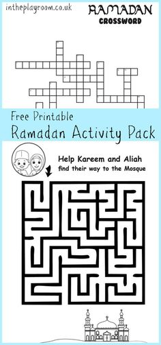 ramadan printable activity pack for kids including maze and crossword with islamic themes