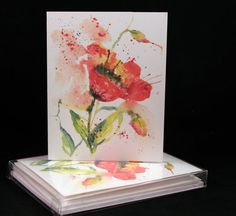 Poppy Flower Original Watercolor PRINT Note by McKinneyx2Designs