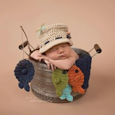 Gone Fishing!! This adorable fisherman set is perfect for a photo shoot or makes an awesome baby shower gift! This set includes: A fisherman hat,