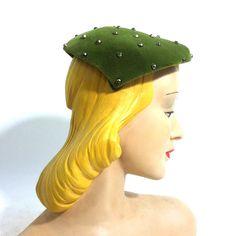 Studded Moss Green Velvet Cocktail Hat circa 1950s - Dorothea's Closet ...