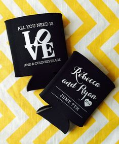 Wedding Can Coolers with Philadelphia LOVE symbol, Philly wedding can coolies, All you need is LOVE and a cold beverage favor (50 qty)