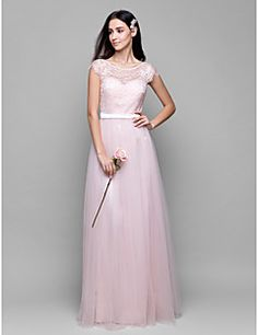 Lanting+Bride®+Floor-length+Lace+/+Tulle+Bridesmaid+Dress+-+A-line+Scoop+with+Lace+–+USD+$+255.00
