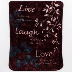 ''Live Laugh Love'' Hi Pile Luxury Throw, Brown