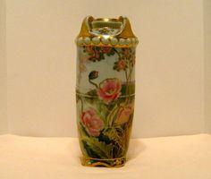 Antique nippon pink poppy vase