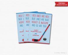 Hockey Valentines Cards Kids Valentines Hockey by MarleyDesign