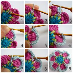 Sublime Crochet for Absolute Beginners Ideas. Capital Crochet for Absolute Beginners Ideas. Crochet Puff Flower, Crochet Flower Tutorial, Crochet Instructions, Crochet Flower Patterns, Love Crochet, Beautiful Crochet, Diy Crochet, Crochet Crafts, Crochet Flowers