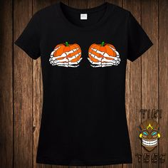 This may be my Halloween costume. Funny Pumpkin Boobies Skeleton Hands Halloween Costume T-shirt