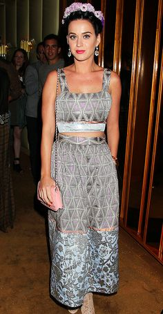 Katy Perry wearing a Suno dress and Lia Sohpia earrings at The Great Gatsby screening in NYC.